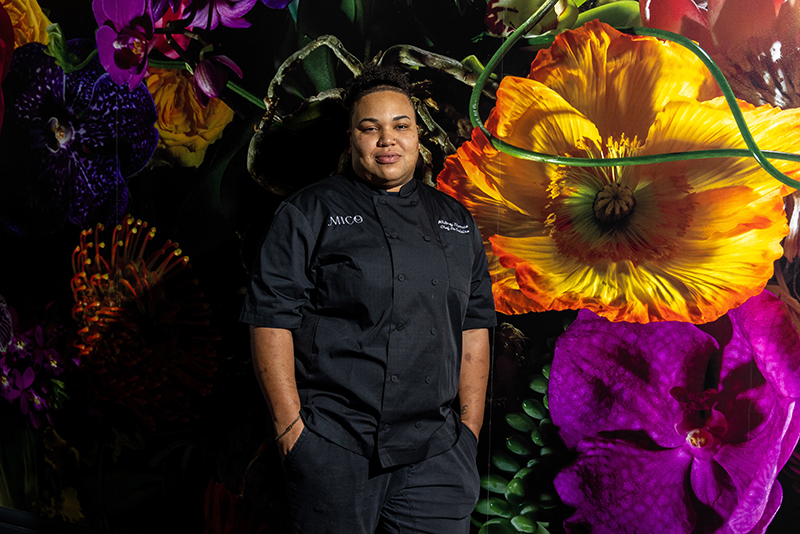 Charlotte, Nc November 17th 2020 Mico Restaurant Int He Grand Bohemian Hotel. Chef Whitney Thomas. Pampas Cake Garnished In Gold Leaf With Vanilla Ice Cream Lamb Kofta Kebabs Caramelized Queen Scallops Beef Ribeye ($39) Mashed Sweet Plantains And B