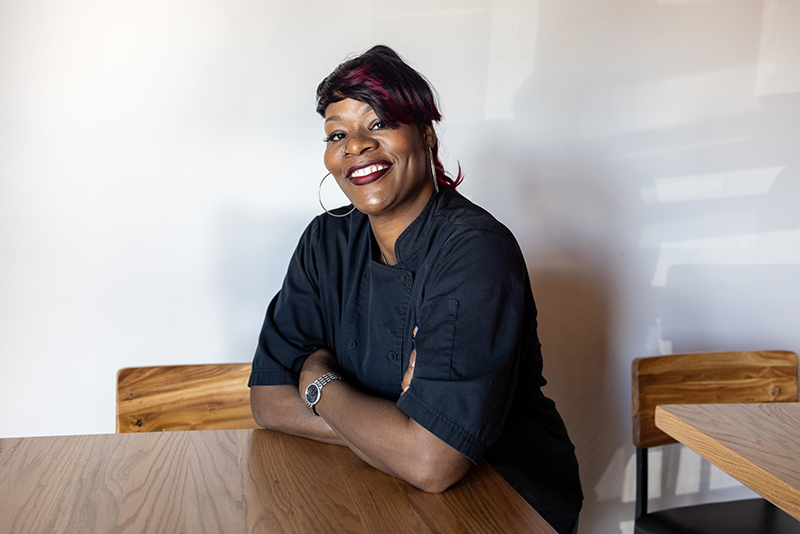 Charlotte, Nc February 7th 2021 Chenelle Bragg, Who Opened Best Of Both Souls In The Wesley Heights Nashville Hot Chicken Sandwich Photographed In Charlotte, Nc On February 7 2021. Photo By Peter Taylor