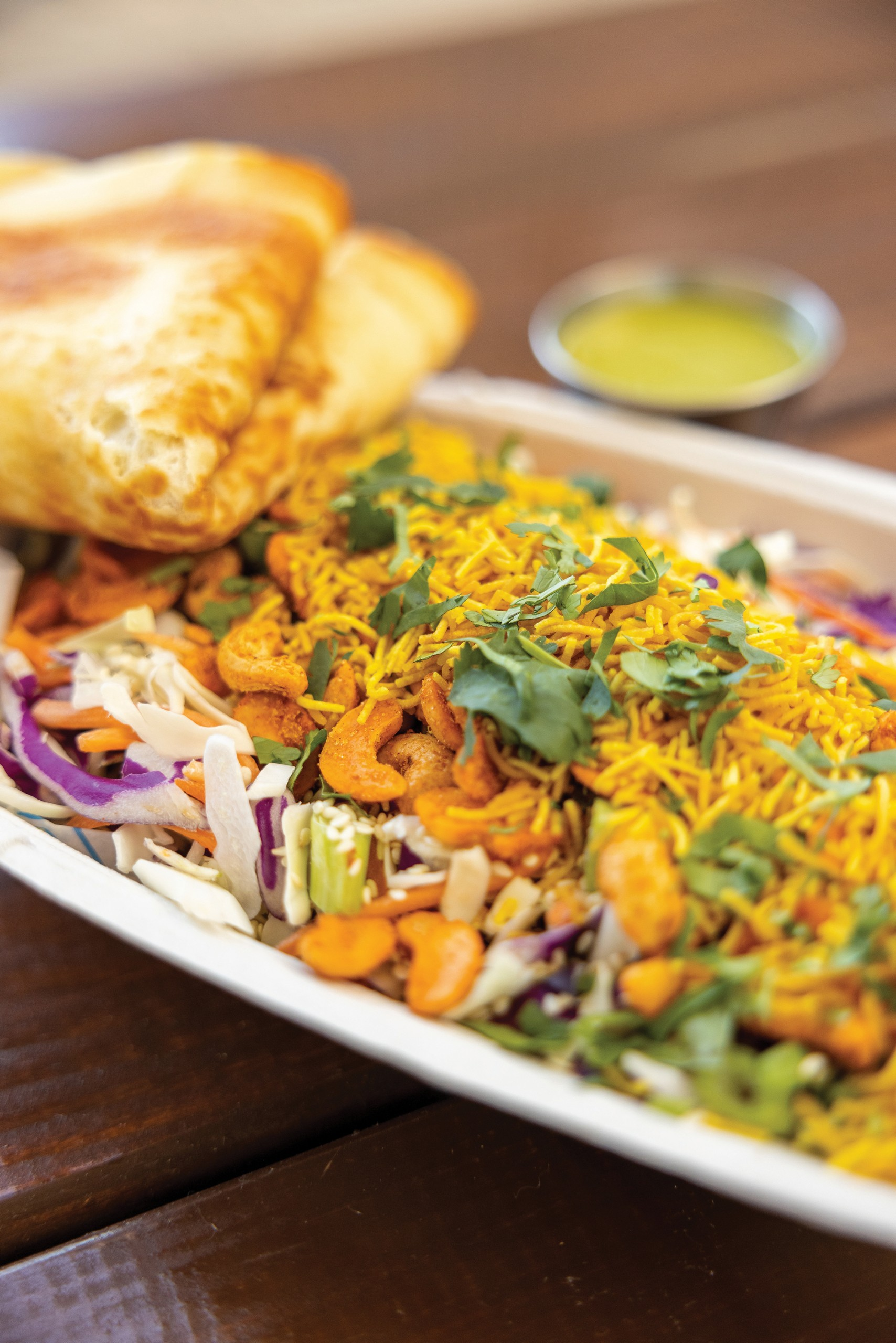 Charlotte, Nc March 8th 2021 Botiwalla Kale Pakoras: Kale Fritters Hot, Buttered Naan Spdp Crispy Flour Puffs Stuffed With Potatoes, Cilantro, And Onions Drizzled With Sweet And Savory Chutneys. Botiwalla Lamb Burgers Desi Salad Drinks Pineapple