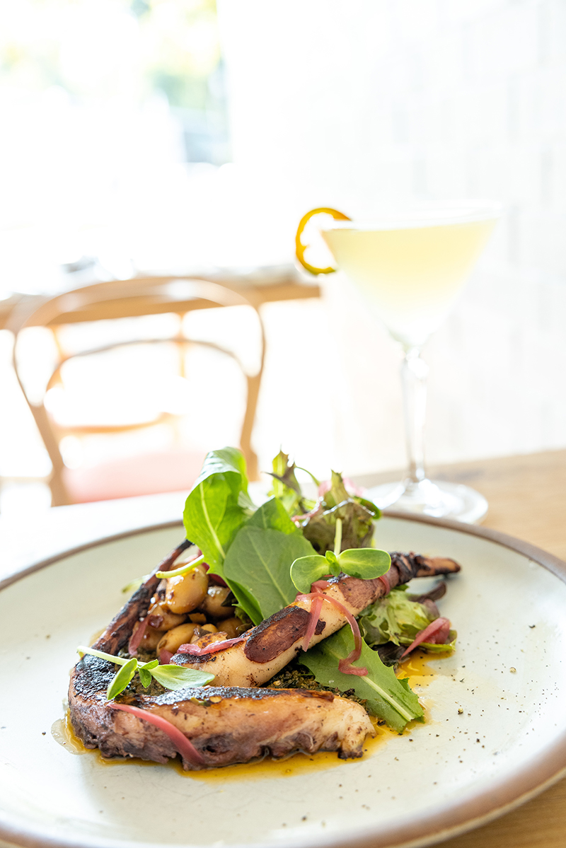 """Charlotte Nc August 12th 2021 Food, Chef And Interiors Shots From The Jimmy The Funghi """"jimmy's Pie"""" Panzanella Breakfast Service Italian Inspired Cocktails Like A Tj Martini Grilled Octopus Burrata With Basil Pesto And Toasted Ciabatta From"""