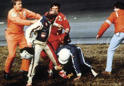 NASCAR's first national television audience, for the 1979             Daytona 500, saw this post-race brawl between Donnie Allison, Cale             Yarbrough, and Donnie's brother Bobby. The race-and the fight-made the             front page of The New York Times sports section.